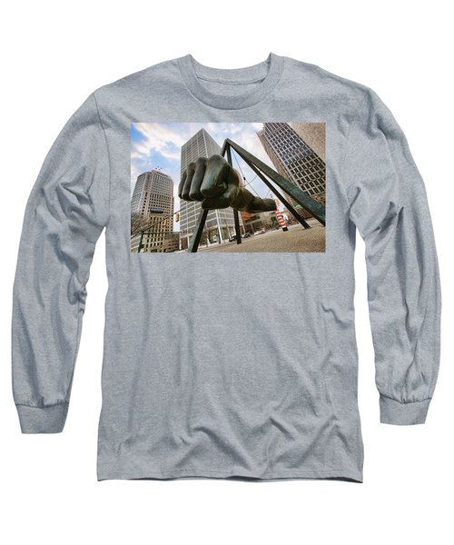 In Your Face -  Joe Louis Fist Statue - Detroit Michigan Long Sleeve T-Shirt by Gordon Dean II