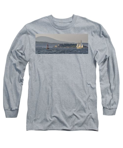 Long Sleeve T-Shirt featuring the photograph Indian Island Lighthouse - Rockport - Maine by Marty Saccone