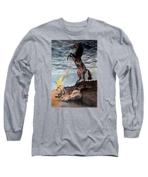 Long Sleeve T-Shirt featuring the painting Indomitable Listen With Music Of The Description Box by Lazaro Hurtado