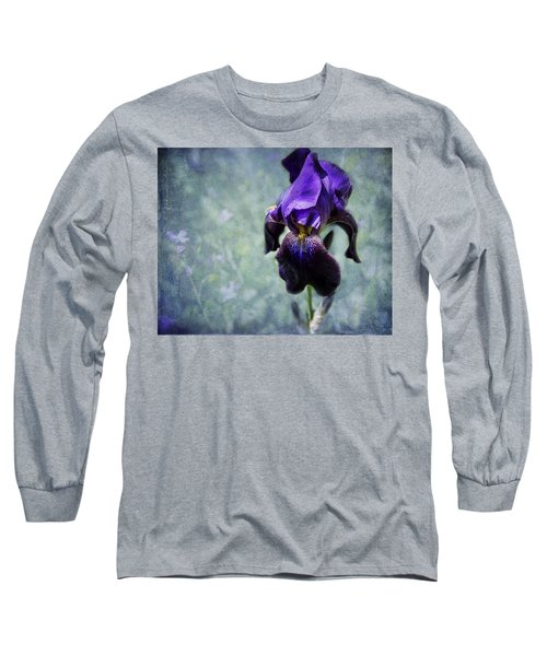 Iris - Purple And Blue - Flowers Long Sleeve T-Shirt by Belinda Greb