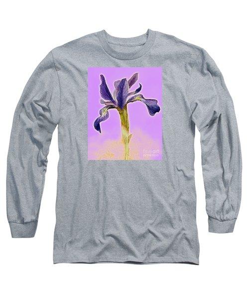 Iris On Lilac Long Sleeve T-Shirt by Barbie Corbett-Newmin