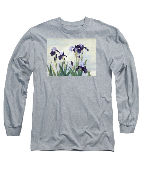 Irises Purple Flowers Painting Floral K. Joann Russell                                           Long Sleeve T-Shirt