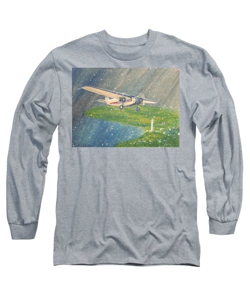 Island Airlines Ford Trimotor Over Put-in-bay In The Winter Long Sleeve T-Shirt by Frank Hunter