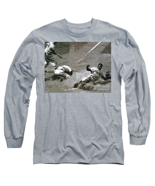 Jackie Robinson Sliding Home Long Sleeve T-Shirt
