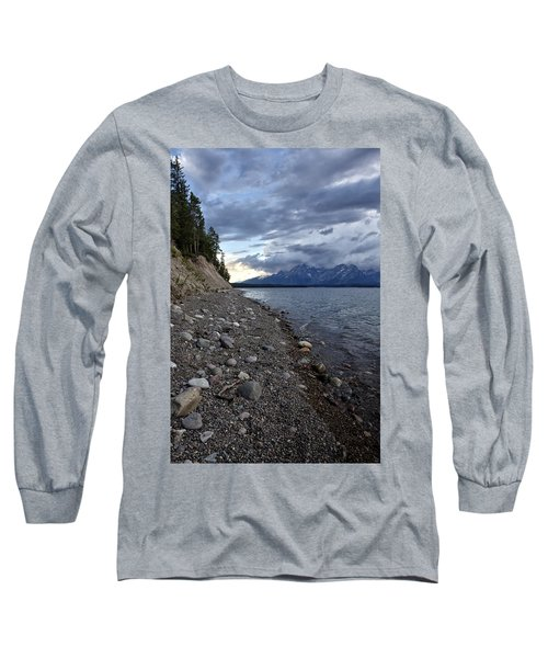 Long Sleeve T-Shirt featuring the photograph Jackson Lake Shore With Grand Tetons by Belinda Greb