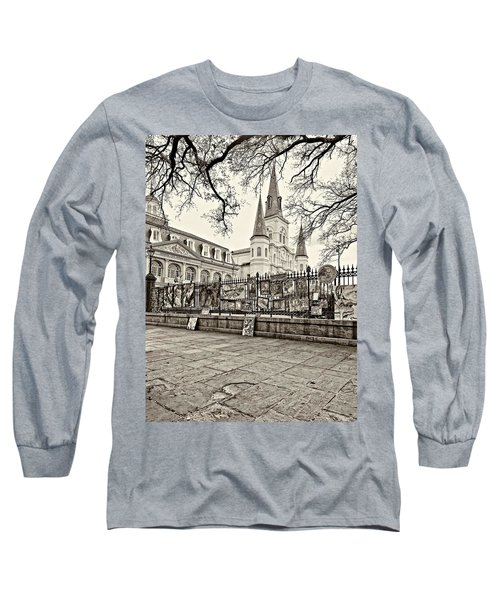 Jackson Square Winter Sepia Long Sleeve T-Shirt by Steve Harrington