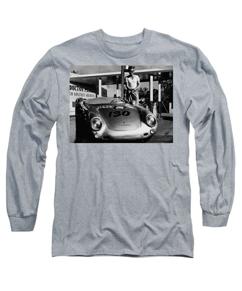 James Dean Filling His Spyder With Gas In Black And White Long Sleeve T-Shirt by Doc Braham