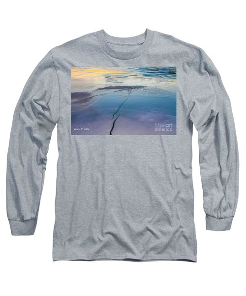 Long Sleeve T-Shirt featuring the photograph January Sunset On A Frozen Lake by Nina Silver