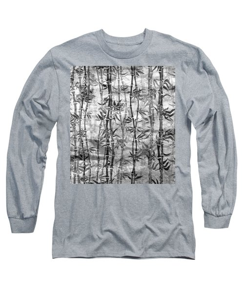 Japanese Bamboo Grunge Black And White Long Sleeve T-Shirt