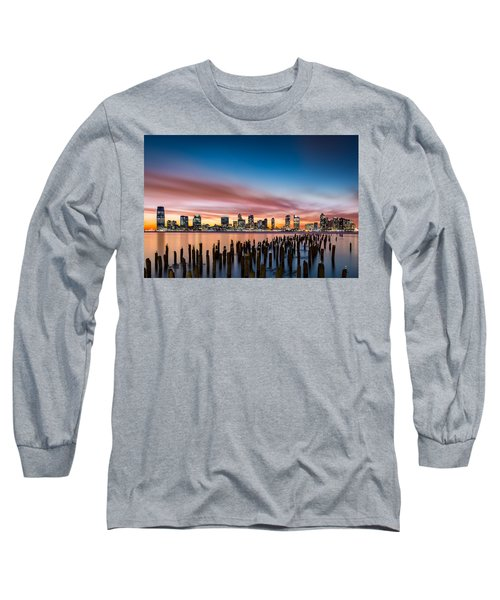 Jersey City Skyline At Sunset Long Sleeve T-Shirt