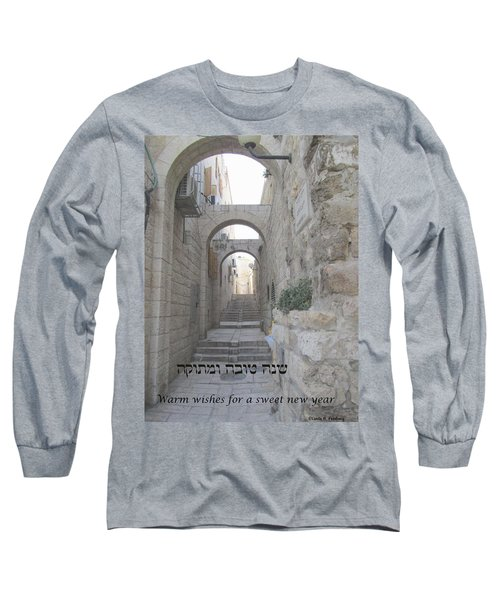 Jerusalem Street Scene For Rosh Hashanah Long Sleeve T-Shirt