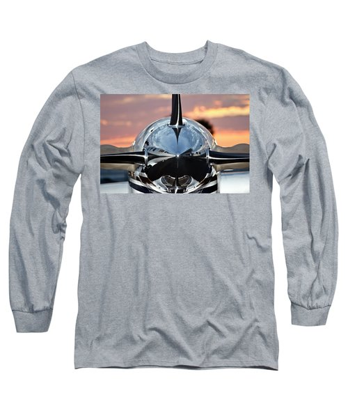 Airplane At Sunset Long Sleeve T-Shirt