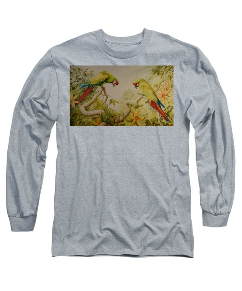 Jewels Of The Rain Forest  Military Macaws Long Sleeve T-Shirt