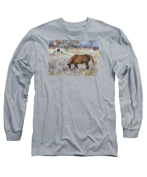 Jill's Horses On A November Day Long Sleeve T-Shirt by Anne Gifford