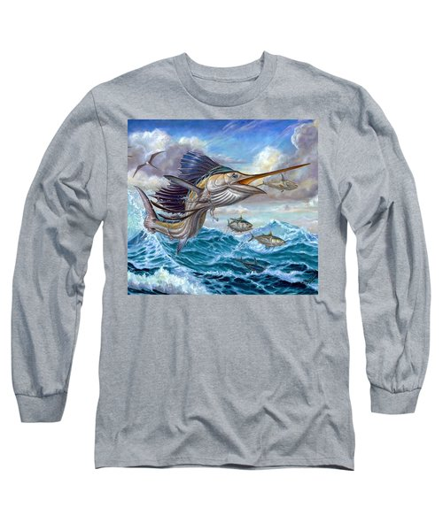 Jumping Sailfish And Small Fish Long Sleeve T-Shirt