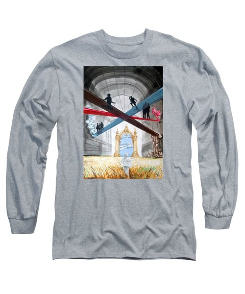 Long Sleeve T-Shirt featuring the painting Just Paths  by Lazaro Hurtado