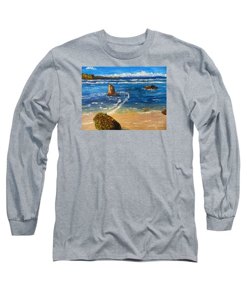 Long Sleeve T-Shirt featuring the painting Kiama Beach by Pamela  Meredith