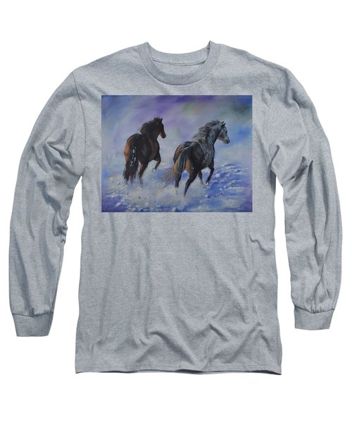 Kicking Up Snow Long Sleeve T-Shirt