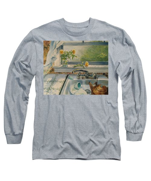 Long Sleeve T-Shirt featuring the painting Kitchen Sink by Joy Nichols