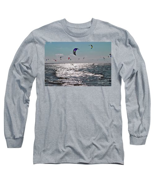 Long Sleeve T-Shirt featuring the photograph Kitesurfing by Maja Sokolowska