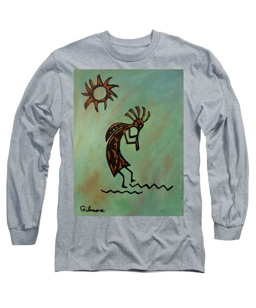 Long Sleeve T-Shirt featuring the painting Kokopelli Flute Player by Roseann Gilmore