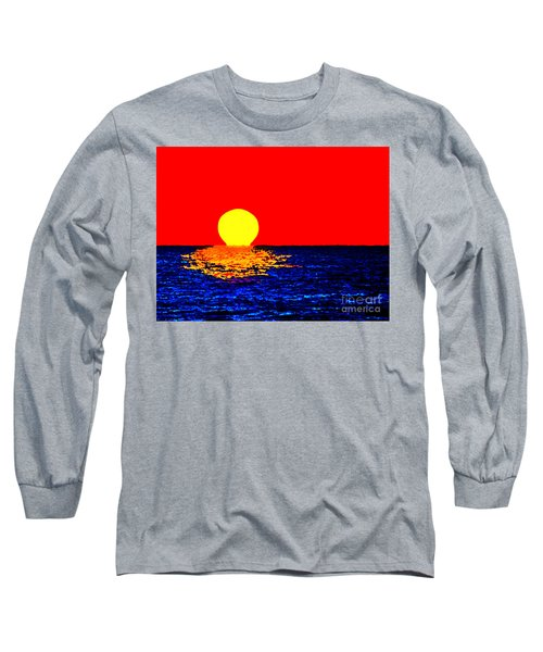 Kona Sunset Pop Art Long Sleeve T-Shirt by David Lawson