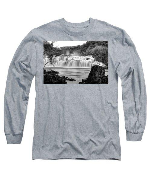 Krka Waterfalls Bw Long Sleeve T-Shirt
