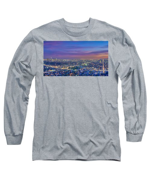 La Fiery Sunset Cityscape Skyline Long Sleeve T-Shirt