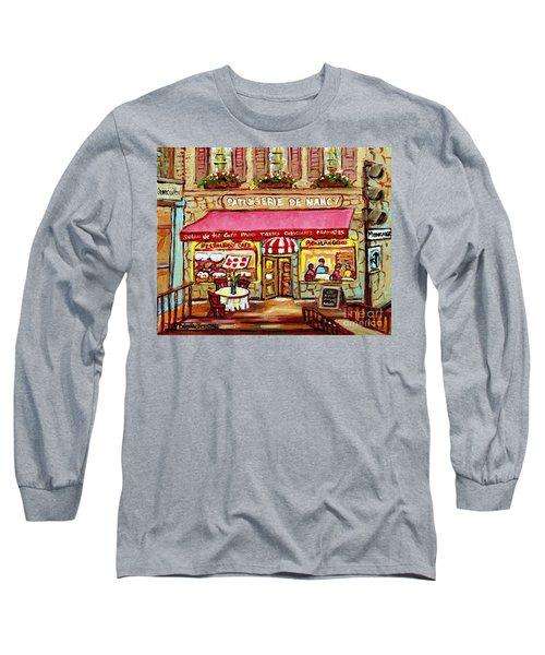La Patisserie De Nancy French Pastry Boulangerie Paris Style Sidewalk Cafe Paintings Cityscene Art C Long Sleeve T-Shirt