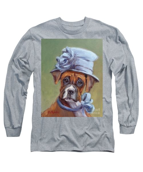 Lady Boxer With Blue Hat Long Sleeve T-Shirt