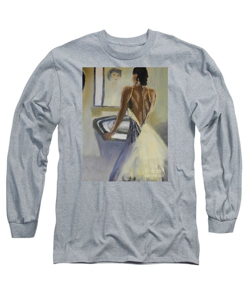 Long Sleeve T-Shirt featuring the painting Lady In The Mirror by Pamela  Meredith