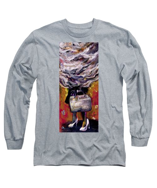 Lady With Suitcase And Storm Cloud Long Sleeve T-Shirt