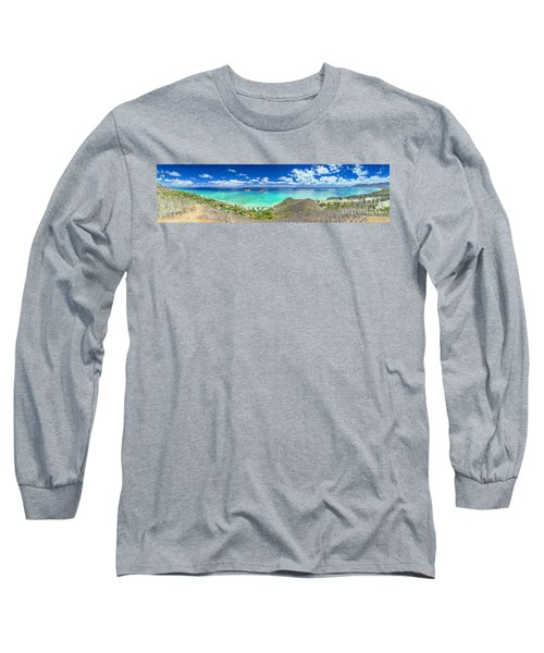 Long Sleeve T-Shirt featuring the photograph Lanikai Bellows And Waimanalo Beaches Panorama by Aloha Art