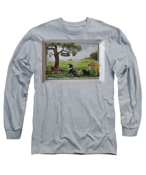 Last Tree Dogs Waiting In Line Long Sleeve T-Shirt by Jay Milo