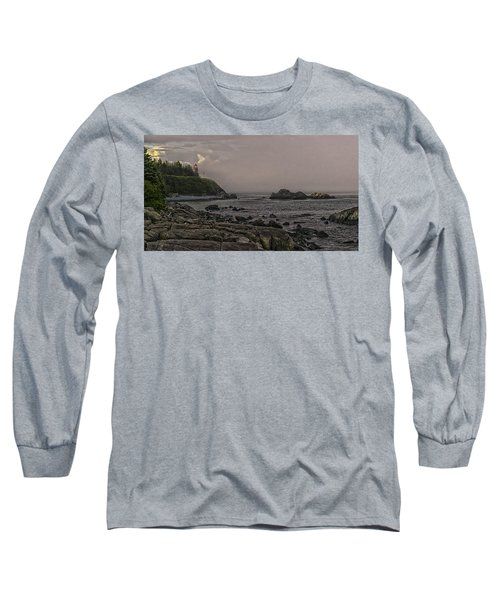 Long Sleeve T-Shirt featuring the photograph Late Afternoon Sun On West Quoddy Head Lighthouse by Marty Saccone