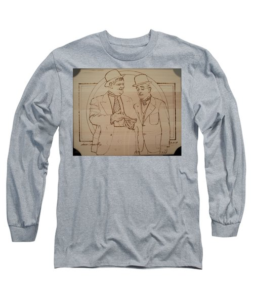 Laurel And Hardy - Thicker Than Water Long Sleeve T-Shirt by Sean Connolly