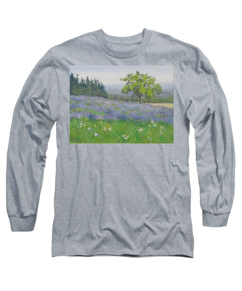 Long Sleeve T-Shirt featuring the painting Lavender Afternoon by Karen Ilari