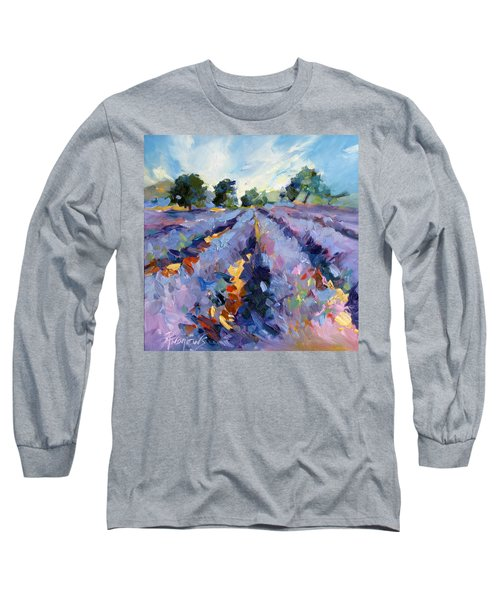 Long Sleeve T-Shirt featuring the painting Lavender Blues by Rae Andrews
