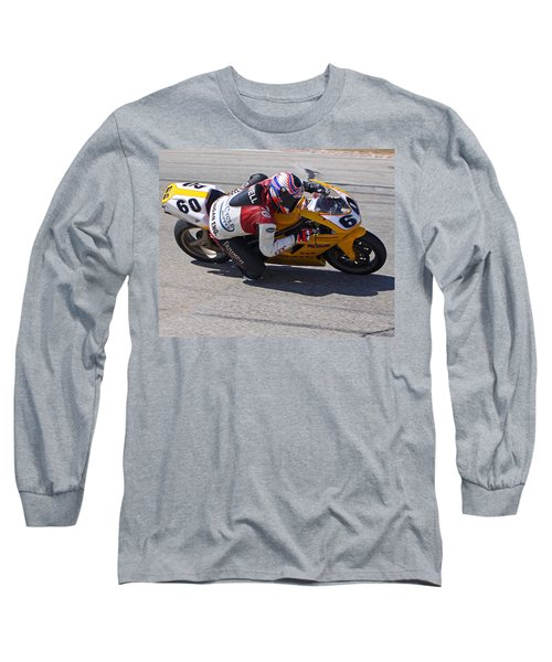 Long Sleeve T-Shirt featuring the pyrography Leaning Into Speed by Shoal Hollingsworth