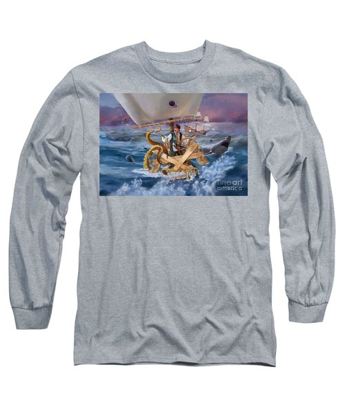 Long Sleeve T-Shirt featuring the painting Legendary Pirate by Rob Corsetti