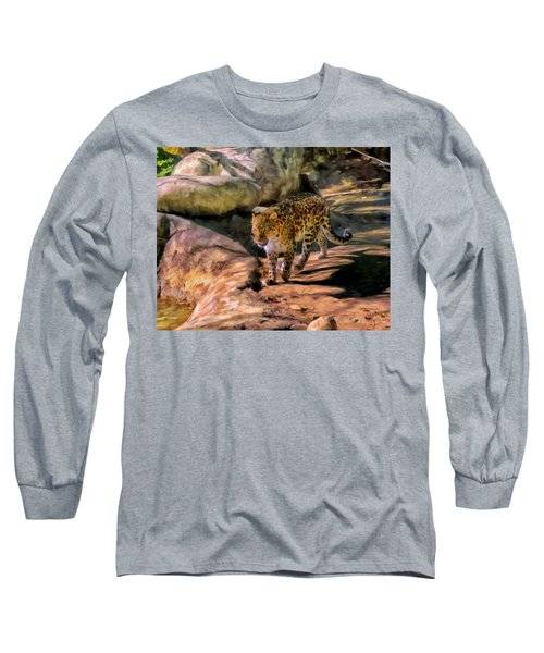 Long Sleeve T-Shirt featuring the painting Leopard by Michael Pickett