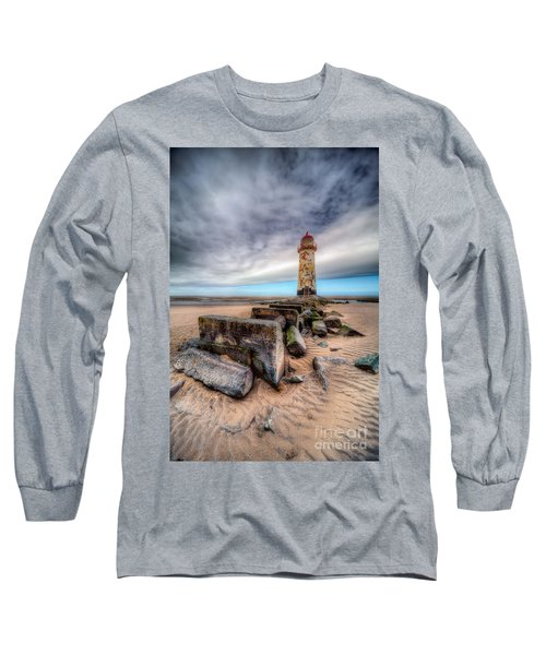 Lighthouse At Talacre  Long Sleeve T-Shirt by Adrian Evans