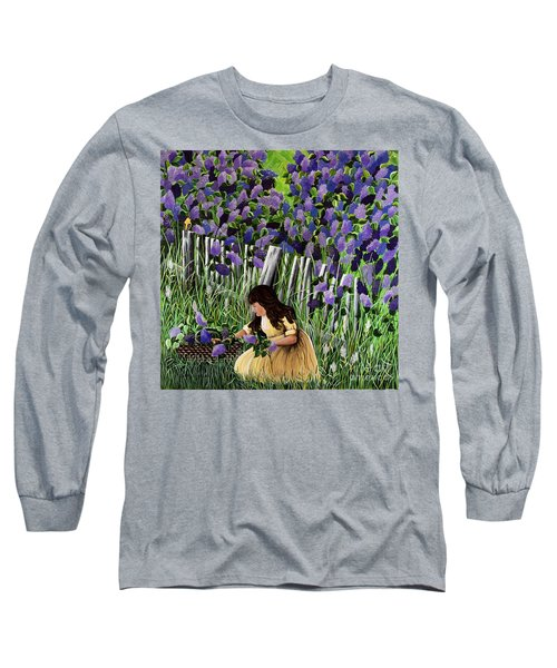 Long Sleeve T-Shirt featuring the painting Lillian's Lilacs by Jennifer Lake