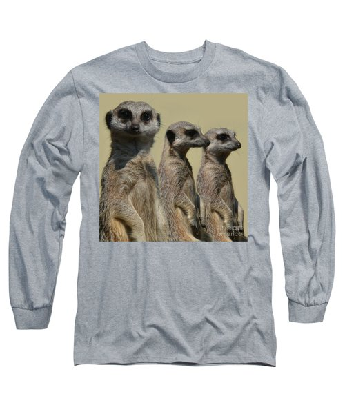 Line Dancing Meerkats Long Sleeve T-Shirt by Paul Davenport