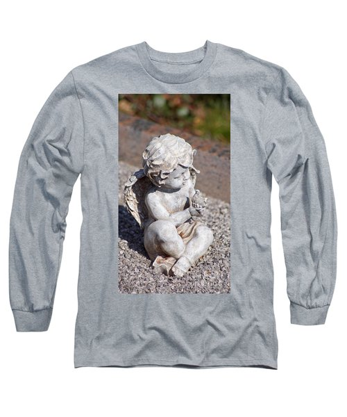 Little Angel With Bird In His Hand - Sculpture Long Sleeve T-Shirt