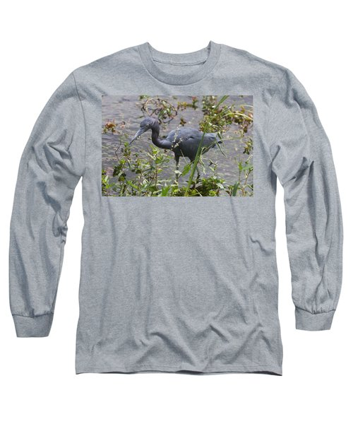 Long Sleeve T-Shirt featuring the photograph Little Blue Heron - Waiting For Prey by Christiane Schulze Art And Photography