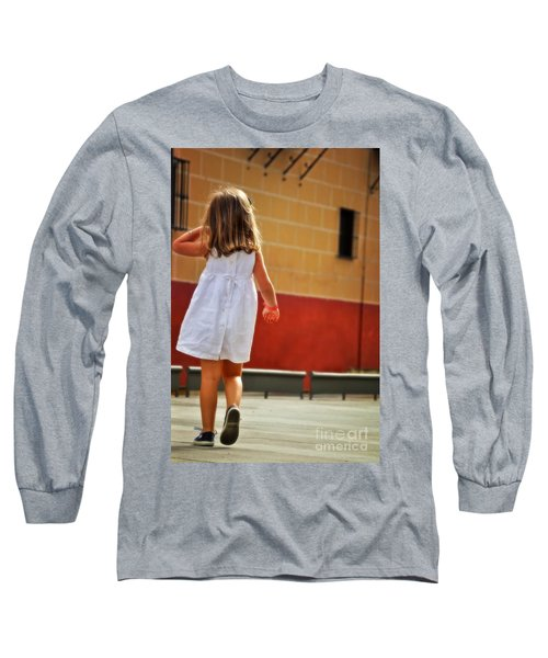 Little Girl In White Dress Long Sleeve T-Shirt by Mary Machare