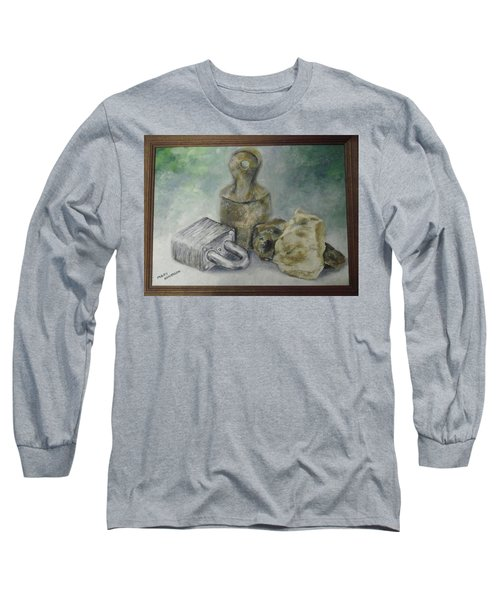 Long Sleeve T-Shirt featuring the painting Locked And Anchored by Mary Ellen Anderson