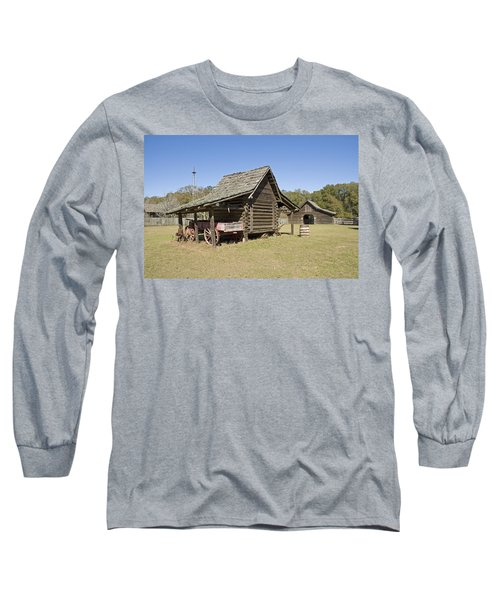 Long Sleeve T-Shirt featuring the photograph Log Cabin And Barn by Charles Beeler