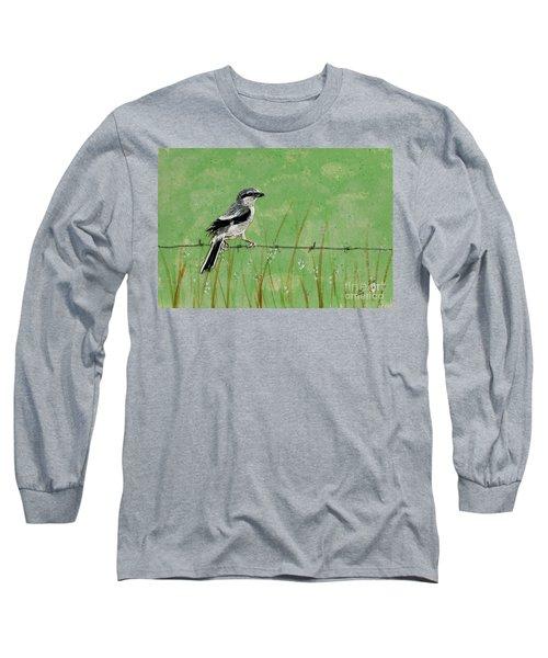 Loggerhead Shrike Long Sleeve T-Shirt by Stefanie Forck